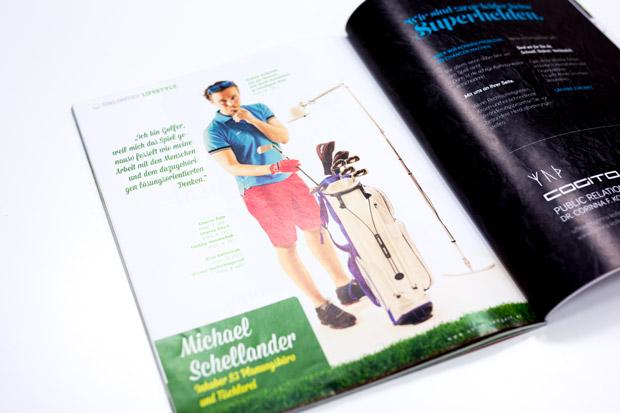 Foto von S3 Inhaber Michael Schellander im Unlimited Golf Magazin mit Fashion Mode Fotostrecke von Fotograf Daniel Waschnig aus Klagenfurt, Villach, Kärnten